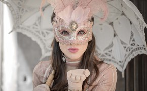 Картинка взгляд, девушка, лицо, праздник, маска, косплей
