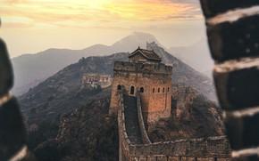 Картинка горы, стена, китай, оборона, великая китайская стена