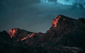 Картинка небо, облака, горы, тучи, природа, скалы