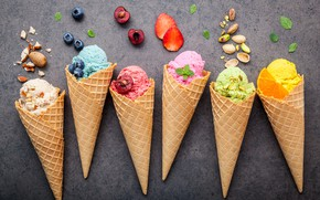Обои ягоды, colorful, мороженое, фрукты, орехи, рожок, fruit, berries, ice cream, cone