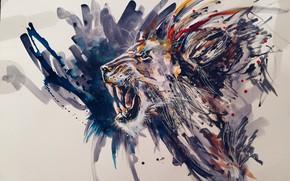 Картинка рисунок, лев, грива, клыки