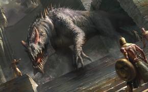 Картинка дракон, воины, маги