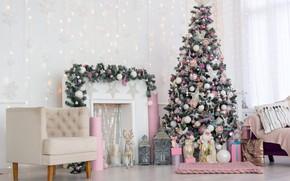 Картинка елка, Рождество, подарки, Новый год, камин, new year, Christmas, design, room, interior, decoration, fireplace, gift …