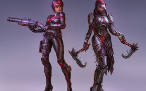 Картинка оружие, фон, девушки
