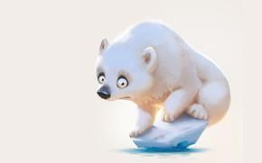 Картинка настроение, арт, мишка, полюс, детская, льдинка, Lynn Chen, Weren't there more ice last year?