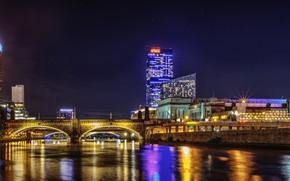 Картинка небо, ночь, огни, река, здания, дома, фонари, США, мосты, Philadelphia