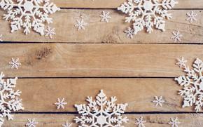 Картинка зима, снежинки, дерево, доски, Новый Год, new year, wood, winter, background, snowflakes