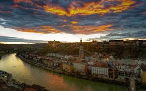 Картинка небо, облака, закат, река, здания, дома, Германия, панорама, Germany, Salzach River, Burghausen, Бургхаузен, Upper Bavaria, …