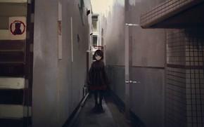Картинка девочка, переулок, нимб