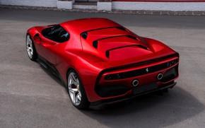 Картинка красный, Ferrari, вид сзади, 2018, SP38