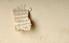 Картинка ноты, музыка, фон, стена