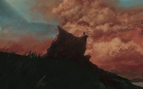 Картинка небо, закат, птицы, человек, холм