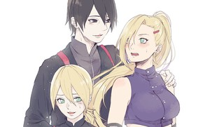 Картинка мальчик, семья, Наруто, Naruto, сын, родители, Ино Яманака, Сай