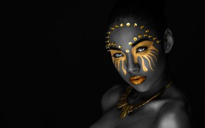Обои глаза, взгляд, девушка, украшения, лицо, стиль, портрет, обработка, макияж, маска, кнопки, губы, черная, образ, мулатка, ...