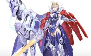 Картинка девушка, оружие, меч, броня, рыцарь, Fate / Grand Order, Судьба великая кампания, железная лошадь