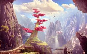 Картинка пейзаж, горы, птицы, замок, дерево, скалы