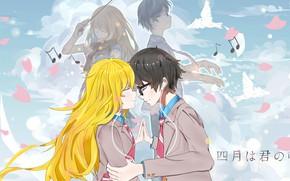 Картинка небо, лепестки, пара, Shigatsu wa Kimi no Uso, Твоя апрельская ложь