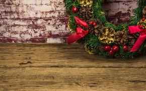 Картинка украшения, Новый Год, Рождество, Christmas, венок, wood, New Year, decoration, wreath, Merry