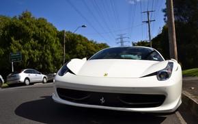 Картинка White, Ferrari 458 Italia, Road, Sport Car