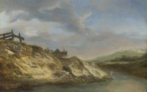 Картинка пейзаж, картина, Филипс Вауэрман, A Stream in the Dunes with Two Bathers, Philips Wouwermans