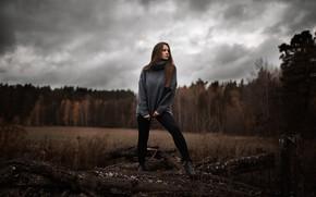 Картинка осень, небо, облака, деревья, Девушка, Илья Баранов, Юлия Бирюкова