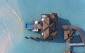 Картинка океан, вилла, Мальдивы, Maldives, water villa, Conrad Rangali island