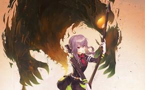 Картинка девушка, оружие, демон, коса, Owari no Seraph, Последний серафим, Хиираги Шиноа, Hiiragi Shinoa