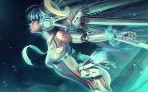 Обои Girl, Robot, Characters, Ascension, Miku Hatsune, Eddy Shinjuku, Cyber, Miku, Cyberpunk, Mecha, by Eddy Shinjuku, ...