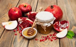 Картинка яблоки, мёд, гранаты