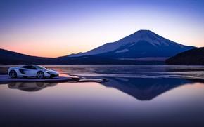 Картинка закат, озеро, гора, McLaren, вечер, суперкар, 650S