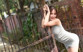 Картинка поза, ограда, платье, азиатка