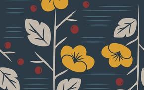 Картинка цветы, синий, фон, вектор, текстура, pattern, floral, seamless