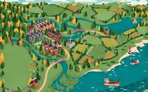 Картинка берег, маяк, корабли, водоём, Far and Wide