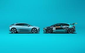 Картинка Jaguar, Ягуар, электрический кроссовер, Jaguar I-Pace eTrophy, Jaguar I-Pace, electric SUV, electric crossover, from race …