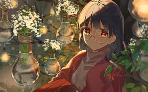 Картинка девушка, очки, книга, оранжерея, omutatsu