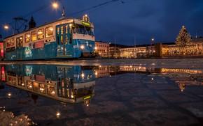 Картинка огни, вечер, трамвай, Швеция, Гётеборг