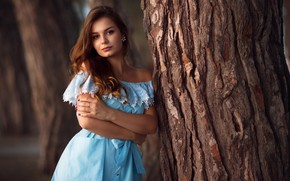 Картинка взгляд, Девушка, платье, плечи, Василий Малыхин, Мадина