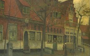 Картинка масло, картина, холст, городской пейзаж, 1900, Иоганн Эдуард Карсен, Eduard Karsen, Дом на Бреедстрат в …