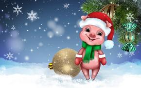 Картинка улыбка, праздник, новый год, юмор, милый, свинья, символ года, поросёнок