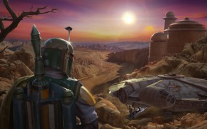 Картинка Star Wars, Boba Fett, Characters, Science Fiction, Millenium Falcon, ILM Art Dept, by Darren Pattenden, …