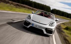 Картинка Дорога, Porsche, Скорость, Асфальт, Фары, Spyder, Porsche 718, 2019, Porsche 718 ( 982 ) Spyder