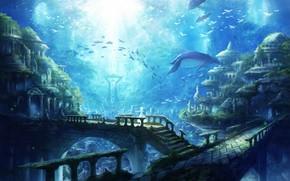 Картинка Рыбы, Руины, Рыбки, Подводный город