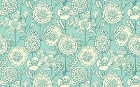 Картинка цветы, фон, голубой, узор, белые