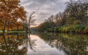Картинка осень, пейзаж, природа, река, красота, вечер