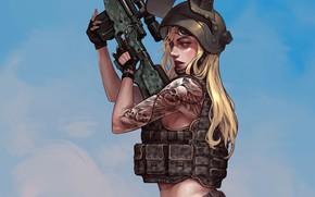 Картинка девушка, оружие, шлем, жилет, Playerunknown's Battlegrounds