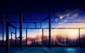 Картинка небо, вода, девушка, звезды, закат, конструкция, Y_Y