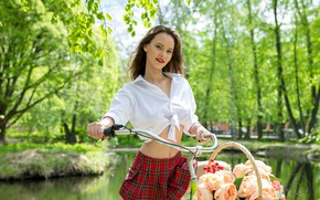 Картинка взгляд, деревья, цветы, велосипед, секси, улыбка, пруд, парк, корзина, модель, юбка, портрет, макияж, фигура, прическа, …