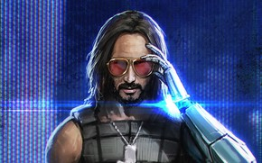 Картинка очки, киборг, Keanu Reeves, Cyberpunk 2077, Johnny Silverhand