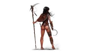 Картинка девушка, серп, индеец