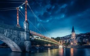 Картинка мост, огни, река, Франция, Лион